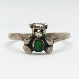 Teddy Bear Sterling Silver Green Enamel Ring